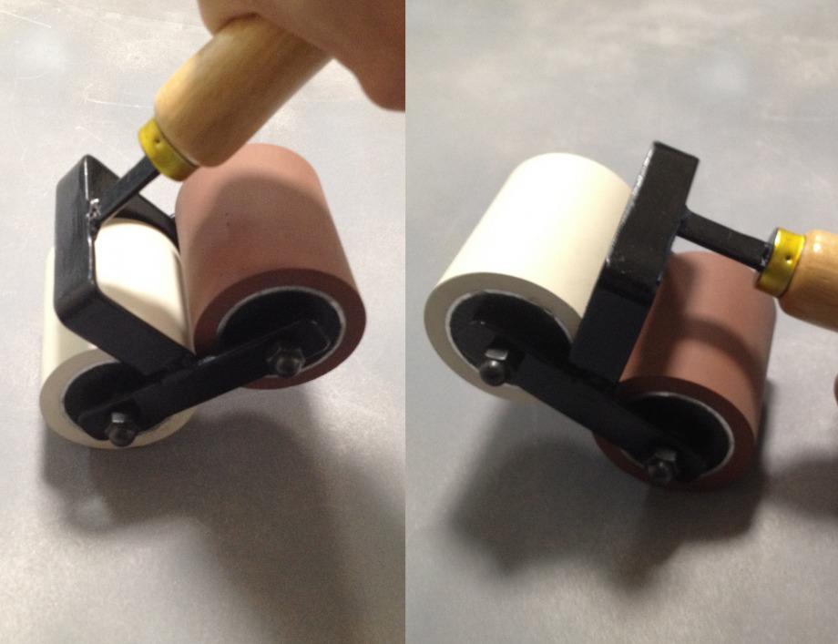 ツインローラー / 傾けて使えば、1本で2種類の硬さの ローラーを使い分け出来ます!